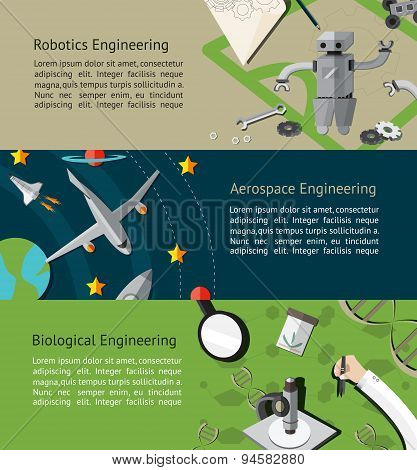 Robotic, Aerospace, And Biological Engineering Education Infographic Banner Template Layout Backgrou