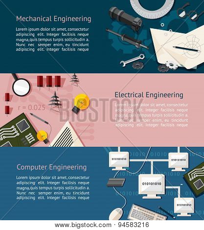 Mechanical, Eletrical, And Computer Engineering Education Infographic Banner Template Layout Backgro
