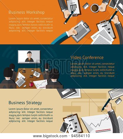 Business Info graphic Banner Of Businessman And Businesspeople Workshop, Video Conference