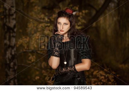Portrait Of Girl A Clock On Chain