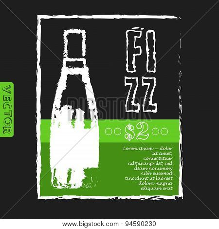 menu for a restaurant with bottle of fizz  on the black background