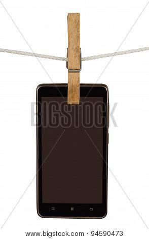 Smartphone On Clothesline