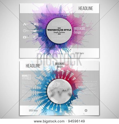 Vector set of tri-fold brochure design template on both sides with world globe element. Abstract cir