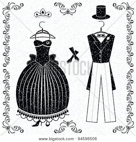Black-white wedding outfits of bride and groom