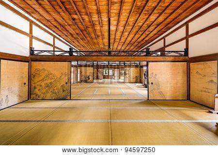 KYOTO, JAPAN - APRIL 9, 2014: The interior of the Kuri, the main building of Ryoanji Temple.