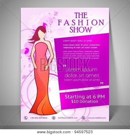 Colourful banner, poster and flyer for fashion show with young fashionable girl wearing stylish dress, address bar, place holder and mailer on floral decorated background.