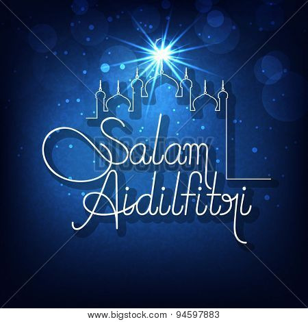 Beautiful greeting card design with mosque and stylish text Salam Aidilfitri on shiny blue background for Islamic holy festival, Eid celebration.