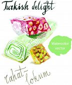 Turkish rahat-lokum, watercolor, turkish delight, sweet, vector poster