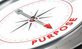 Compass with needle pointing the word purpose. Conceptual illustration for achieving goals. poster