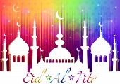 Rainbow card with mosque for greeting with finish of fasting month Ramadan and Islamic holiday Eid al-Fitr as well Feast of Breaking the Fast. Vector illustration poster