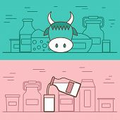 Milk products vector concept with flat objects. Lactose diet and fresh natural milk template. Set of modern flat objects with products containing lactose: milk bottle, glass, cheese, cottage, cream, yogurt. Great for healthy magazines, cooking web sites. poster