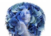 double exposure portrait afrian woman with a flowers. Beauty concept poster