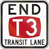 Australian regulatory sign - End T3 Transit Lane poster
