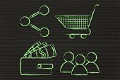 customer behavior and analysing big data for marketing: clients wallet shopping cart and sharing button poster