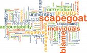Background concept wordcloud illustration of scapegoat blame poster