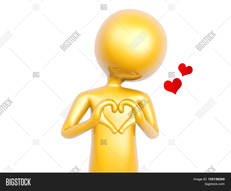 Golden Guy Make Heart Image Photo Free Trial Bigstock