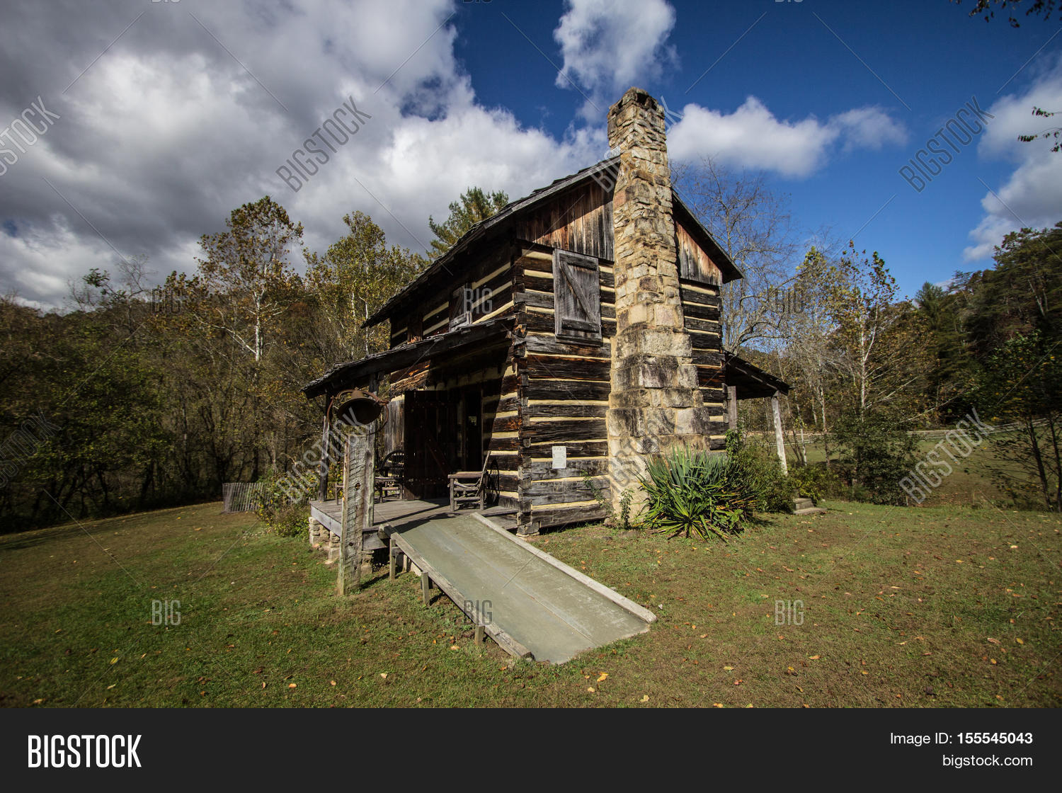 Historical Log Cabin In The Appalachian Mountains Of Kentucky. Historic Log  Cabin On Display At