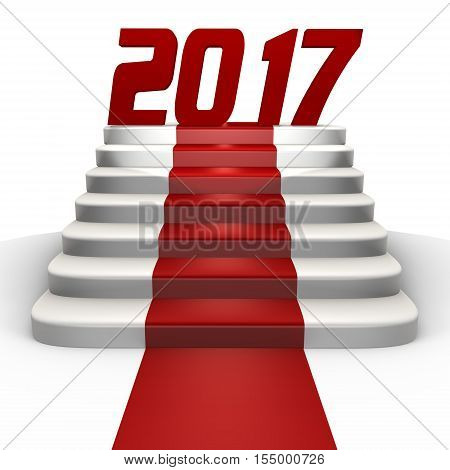 New year 2017 on a red carpet - a 3d image