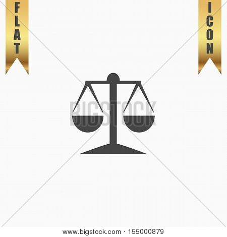 Mechanical scales. Flat Icon. Vector illustration grey symbol on white background with gold ribbon