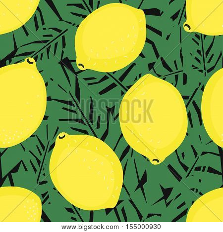 Lemons on palm leaves seamless decorative background. Tropical leaves pattern with lemons. Trendy Jungle illustration. Fashion design for textile, wallpaper, fabric.