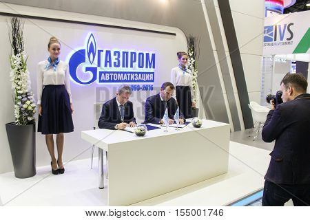 St. Petersburg, Russia - 4 October, The signing of the contract on the forum, 4 October, 2016. Petersburg Gas Forum which takes place in Expoforum.