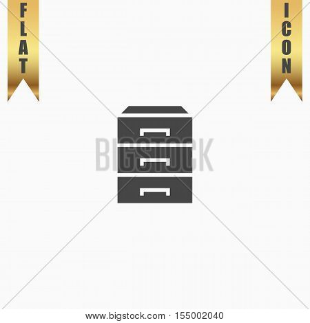 Chest of drawers. Flat Icon. Vector illustration grey symbol on white background with gold ribbon