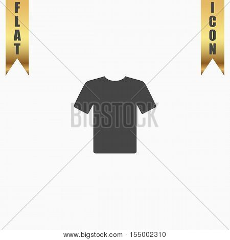 Tshirt. Flat Icon. Vector illustration grey symbol on white background with gold ribbon