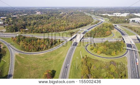 A major highway intersection in a large city in the United States