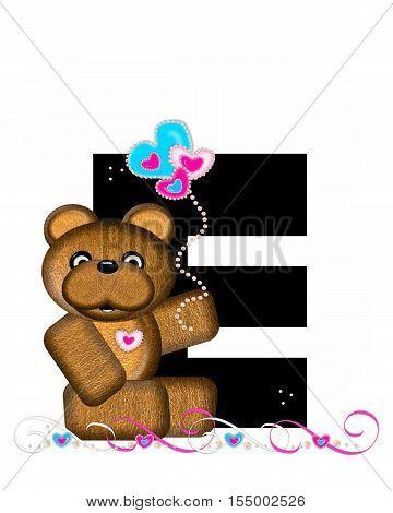 Alphabet Teddy Valentines Cutie E