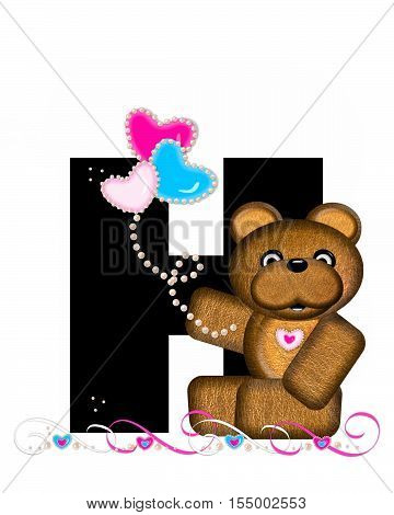 Alphabet Teddy Valentines Cutie H