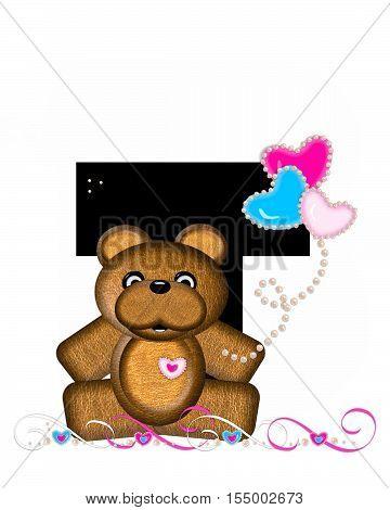 Alphabet Teddy Valentines Cutie T