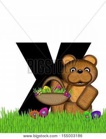 Alphabet Teddy Hunting Easter Eggs X