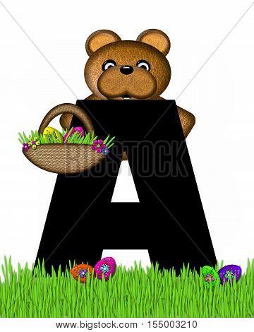 Alphabet Teddy Hunting Easter Eggs A