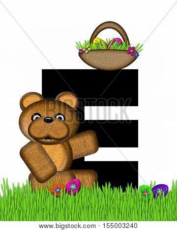 Alphabet Teddy Hunting Easter Eggs E