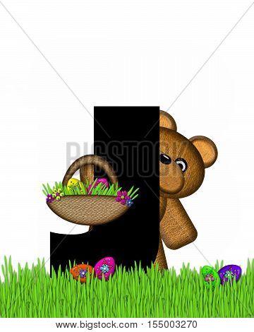 Alphabet Teddy Hunting Easter Eggs J
