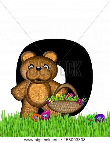 Alphabet Teddy Hunting Easter Eggs O