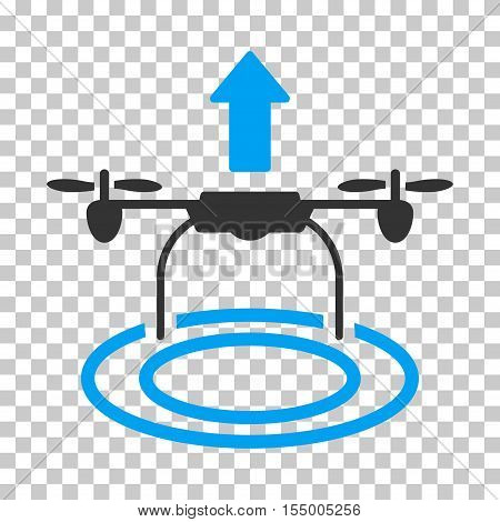 Start Drone toolbar icon. Vector pictogram style is a flat bicolor symbol, blue and gray colors, chess transparent background. poster