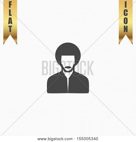 Rastafarian man. Flat Icon. Vector illustration grey symbol on white background with gold ribbon