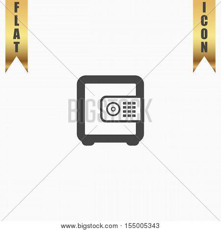Safe money. Flat Icon. Vector illustration grey symbol on white background with gold ribbon