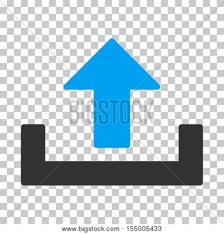 Upload interface icon. Vector pictograph style is a flat bicolor symbol, blue and gray colors, chess transparent background.