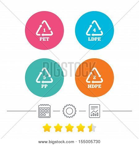 PET 1, Ld-pe 4, PP 5 and Hd-pe 2 icons. High-density Polyethylene terephthalate sign. Recycling symbol. Calendar, cogwheel and report linear icons. Star vote ranking. Vector
