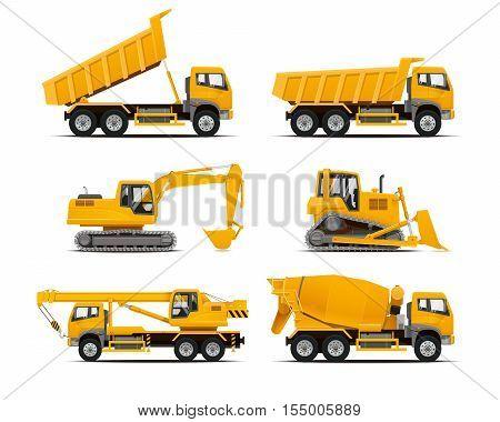 Set of the construction machinery vehicles. Vector Truck, Vector Dumper, Vector Excavator, Vector Mobile crane, Dozer. High detailed vector illustration.