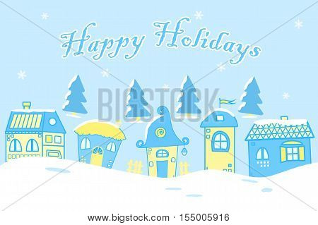 Fairy tale winter landscape illustration. There is five fantastic lodges on a blue background in the picture. Vector illustration