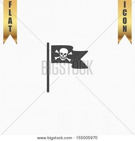 Jolly Roger or Skull and Cross bones Pirate flag. Flat Icon. Vector illustration grey symbol on white background with gold ribbon