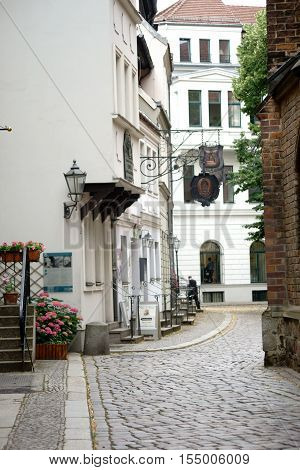 BERLIN, GERMANY - JUNE 21: The Gotthold Ebrahim Lessing exhibition in a listed building of the Nikolai Quarter on June 21, 2016 in Berlin.