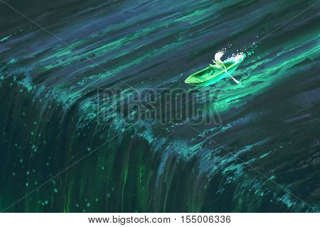 man rowing in glowing green boat near edge of waterfall, illustration painting
