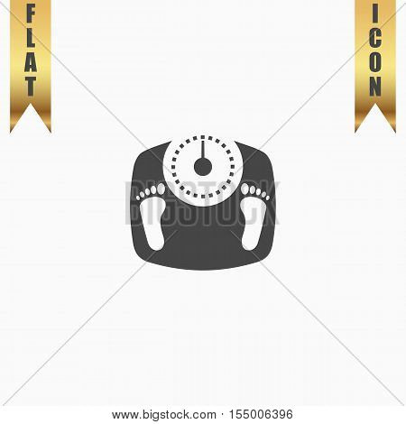 Bathroom scale with footprints. Flat Icon. Vector illustration grey symbol on white background with gold ribbon
