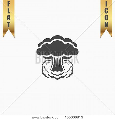 Mushroom cloud, nuclear explosion, silhouette. Flat Icon. Vector illustration grey symbol on white background with gold ribbon