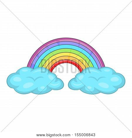 Clouds and rainbow icon. Cartoon illustration of rainbow vector icon for web design