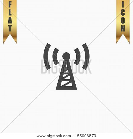 Transmitter. Flat Icon. Vector illustration grey symbol on white background with gold ribbon